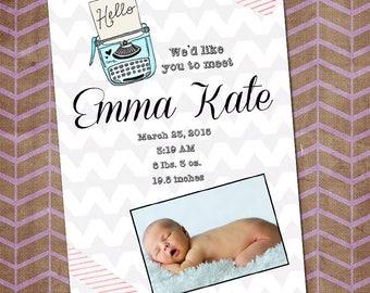 Birth announcement printable, baby girl, baby announcement, Hello world, chevron, baby girl, it's a girl