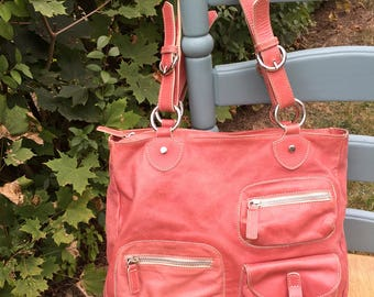 REDUCED! Hype pinkish coral salmon pink leather hobo handbag purse cute