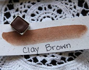 Clay Brown, Half-Pan, Handmade Watercolor Paint, Travel Watercolors