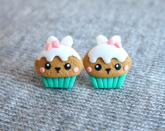 Gifts For Kids, Girls Earrings, Bunny Earrings, Mint Muffin Earrings, Cupcake Earrings, Funny Jewelry, Small Girls Jewelry Small Girls Gifts