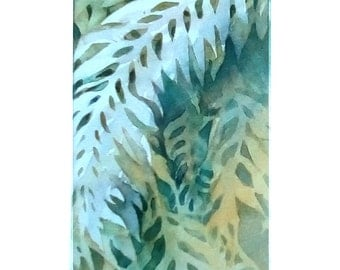 Contemporary Abstract Painting of Ferns in White, Yellows and Greens, Original Watercolor Painting, Great Art Home Decor