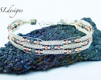Triple row wire macrame bracelet