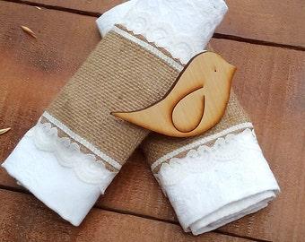 Burlap and Lace Napkin Holder - Burlap Napkin Holder - Burlap Napkin Ring Holder - Wedding Napkin Holder  - Rustic Table Decor - Choose Qty