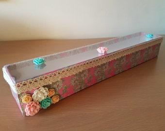 Handmade Knitting/Crochet Needle Storage Box ~Knitter~Pink~Flower~Lace