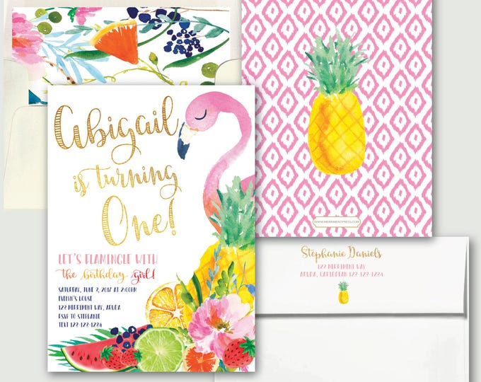 Tutti Fruity Birthday / Tutti Frutti Invitation / Let's Flamingle / Any Age / Tropical / Flamingo / One / Pineapple / ARUBA COLLECTION
