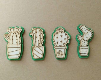Wooden cactus magnets, set of 4