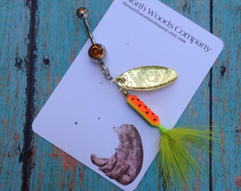 Rooster tail fishing lure belly ring