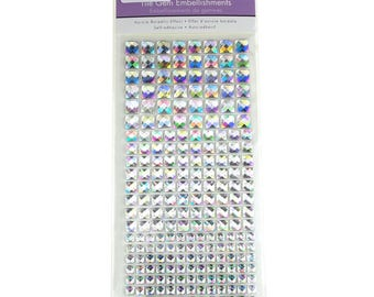 Self-Adhesive Tile Gemstones Stickers, Iridescent, 22-Count