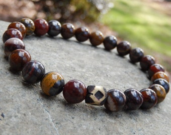 Men's Tiger Iron Mala Bracelet, Wrist Mala, Meditation Bracelet, Yoga Bracelet, 1st Chakra, Crystal Healing, Reiki infused