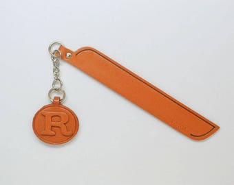 R Leather Alphabet Charm Bookmark/Bookmarks/Bookmarker *VANCA* Made in Japan #61389 Free Shipping