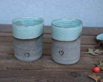 Set of two coffee mugs, pottery coffee mugs, turquoise mugs, blue mug, rustic coffee mug, coffee mug set, ceramic tea mug, ceramic tea cup