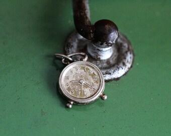 Vintage Alarm Clock charm - silver 835 - Dutch hallmark and maker's mark - Rotterdam craft.