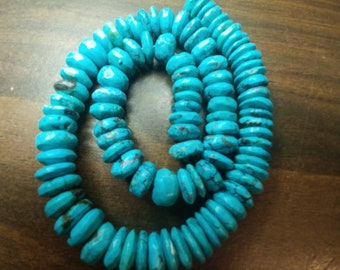 """Genuine Turquoise Hand Carved Rondelle Beads - 16"""" Full Strand (2014200-3)"""