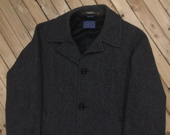 Pendleton Herringbone Wool Car Coat