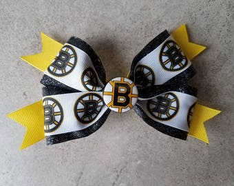 BOSTON BRUINS Hair Bow - 4 inch boutique style with decorative button center