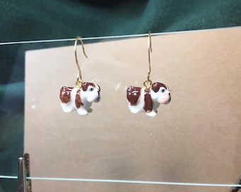 Darling porcelain brown and white bulldog earrings on handmade gold filled round earwires.