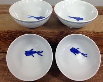 Blue and White Porcelain Bowl, Small Ceramic Bowl with Fish, Wheel Thrown Cereal Bowl, Prep Bowls, Modern Pottery, Handmade Gift, Indigo