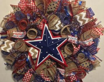 Patriotic wreath, Americana wreath, 4th of July wreath, red white and blue wreath, red white blue wreath, americana decor, wreath, wreaths