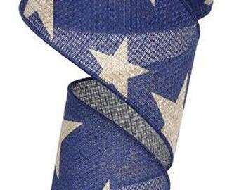 "2.5""x10yd navy stars wired ribbon, navy blue star ribbon, patriotic wired ribbon, patriotic ribbon, 4th of July ribbon, fourth of July"