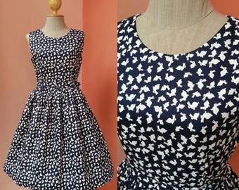 50s Dress Day Dress Rockabilly Dress 1950s Dress Casual Dresses Summer Dress Womens Sundress Rabbit Print Dress Navy Blue Cotton Dress Midi