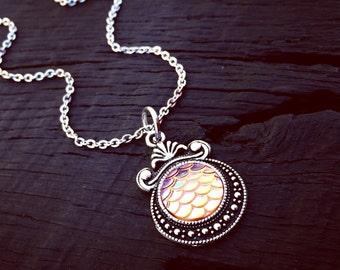 Orange Crush Mermaid Scale Pendant Necklace | Mermaid Jewelry Gift | Mermaid Lover Jewelry | Mermaid Gift | Beach Jewelry | Nautical Jewelry
