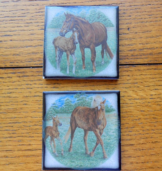 Vintage Tile Drink Coasters With Horse Scenes