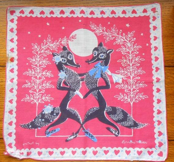Fox Trot Hankie Artist Signed Lorraine Miller Valentine Dancers In Moonlight