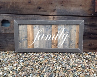Family Sign, LARGE wood Family sign, Distressed Family sign, custom made Family sign, welcome sign for the home, Family sign 36X18, w/frame