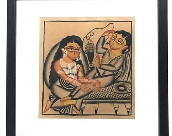 Kalighat Painting on Handmade Paper-4 (Framed)