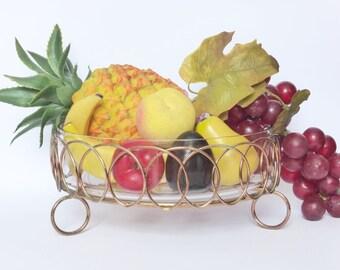 Mid Century Glass Bowl in Metal Basket, Vintage Glass Serving Bowl, 1950s Fruit Basket, Retro Kitchen Decor, Vintage Wedding ~ Vintage Glass