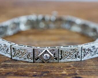 Art Deco 1920's 14k White Gold Diamond Filigree Bracelet