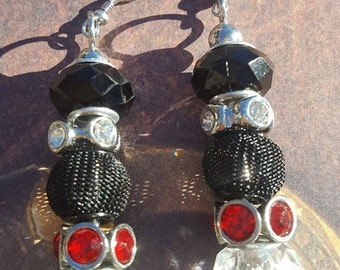 Black red and clear mix n mingle beaded fish hook earrings