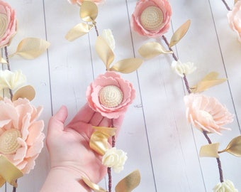 Pink and Gold Birthday Decor - Pink and Gold Felt Flower Garland - Pink and Gold Nursery Garland - Girl Nursery Decor - Floral Nursery Decor