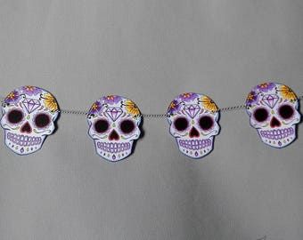 Sugar Skull Bunting Purple Wedding Party Decoration Tattoo Rockabilly Party Day of the dead candy skull garland