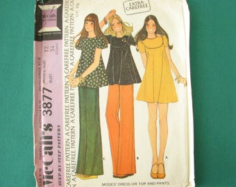 1970s tunic or dress pattern, McCall's 3877 pattern with wide leg pants, size 12 bust 34 uncut