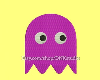 Pacman Ghost Embroidery Design - 5 Sizes - INSTANT DOWNLOAD