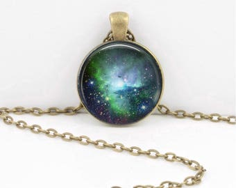 Space Galaxy Nebula Space Stars Celestial Pendant Necklace Inspiration Jewelry or Key Ring