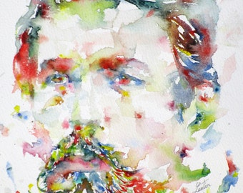 ANTON CHEKHOV - original watercolor portrait - one of a kind!