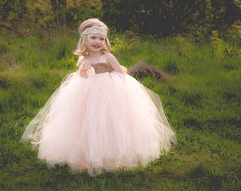 Blush and Champagne Flower Girl Dress, Blush Tutu Dress, Champagne Tutu Dress, Blush and Champagne Tutu Dress, Flower Girl Tutu Dress