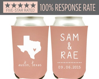 Personalized State Pride Texas Wedding Can Coolers, Custom Wedding Beer Can Coolers with State Map - Beer Can Coolers as Wedding Favors (5)
