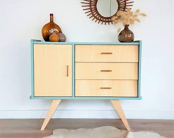 Chest of drawers, dresser, mid century modern, cabinet, vintage & scandinavian design, blue dresser, model Bertille