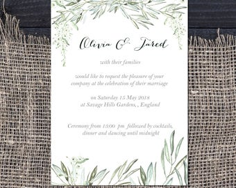 Olive and wisteria watercolor wedding invitations, Printable Wedding Invitations, Wedding invitation template, Wedding Instant Download