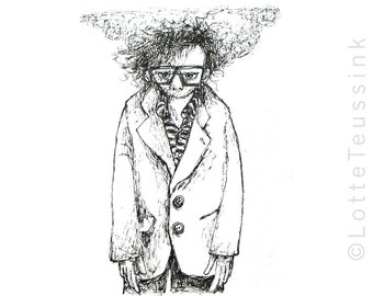 ACEO original art trading card, Tim Burton drawing, black & white illustration, lowbrow art, film art, fantasy art, small miniature art