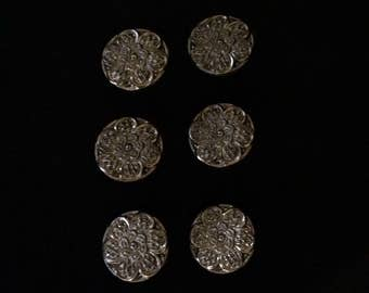 Six Vintage Silver Luster Black Glass Buttons