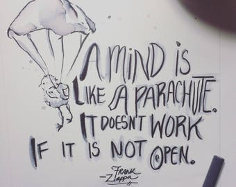 PARACHUTE MIND, happy quote, keep an open mind, original art