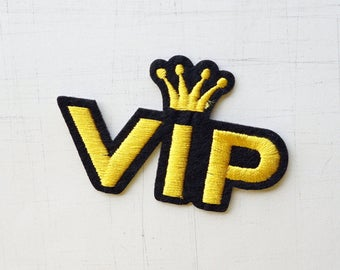 7.2 x 4.4 cm, Yellow Crown VIP Comic Dialog Iron On Patch (P-492)