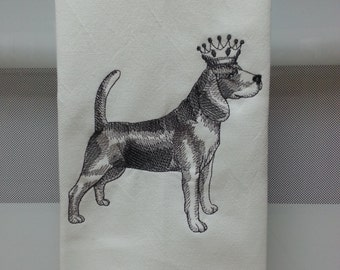 Beagle with Crown Embroidered Kitchen Towel