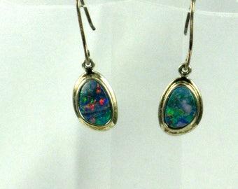 Fire Boulder OPALS, Sterling Earrings, Real Opal Earrings, STERLING Silver 925, Natural Opals, Small Earrings, Australian Opals, AAA Grade