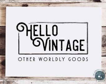 Hand Drawn Logo Design - Customizable - Sign - Vintage - Seal - Watermark - Flourishes - Blog