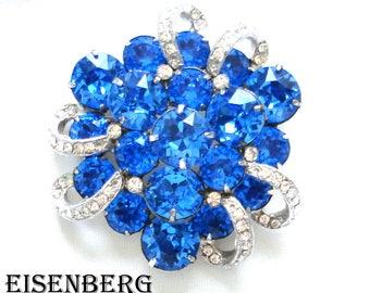 EISENBERG RHINESTONE BROOCH 2+ Inches Sapphire Blue Dentelle Crystal Rhinestones 1940's